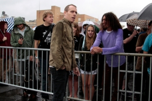 Ted Leo talking to fans