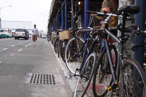 Bikes on street block, Williamsburg, Brooklyn