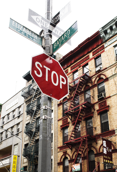 Elizabeth and Bayard Street Sign, Chinatown, NYC