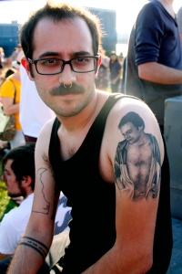 Man with tattoo of his father at Jelly NYC, Williamsburg, Brookl