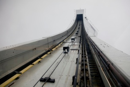 View asscending the cable car at Olympic Stadium, Montreal, Canada