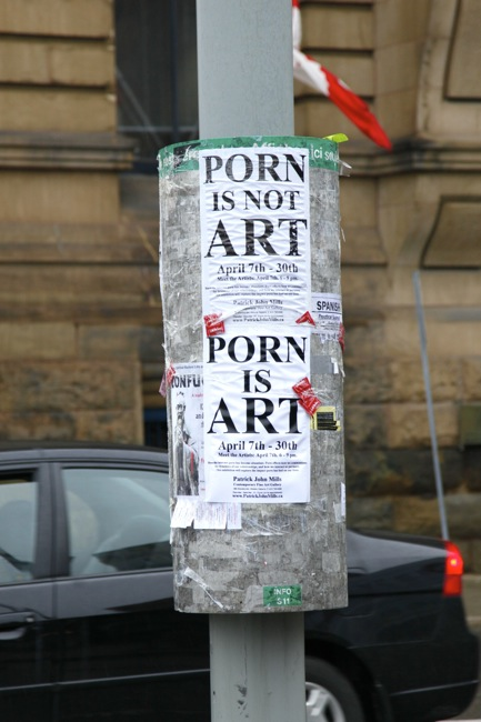Porn Is Not Art, Porn Is Art signs, Ottawa, Ontario, Canada