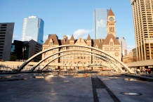 Reflecting pool with Old City Hall, Toronto, Ontario, Canada