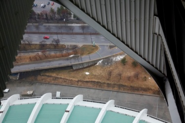 Abstract view from the Olympic Stadium In Montreal, Canada, Monday, 4 April, 2011