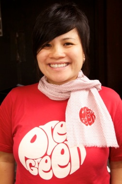 Cotton Tee w/ Pretty Green Logo and lightweight white with red polka dot scarf with a Selvedge Finish
