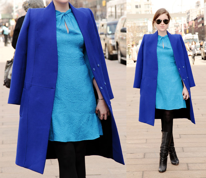 Dress: Nanette Lepore; Coat: Honor