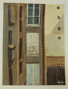 View from Alesia Apartment, Paris, France. 12x16 Acrylic on Canvas. Contact for Pricing.