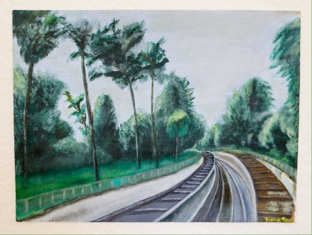 Railroad Tracks at Parc Montsouris, Alesia, Paris, France. 12x16 Acrylic on Canvas. Contact for Pricing.
