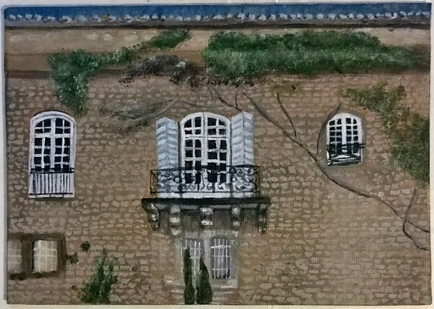 Facade of building in Arles. This is a small 5X7 canvas panel and is quite detailed. I think it will make a nice gift for my dad. Shhh...Don't tell him what I got for Father's Day.