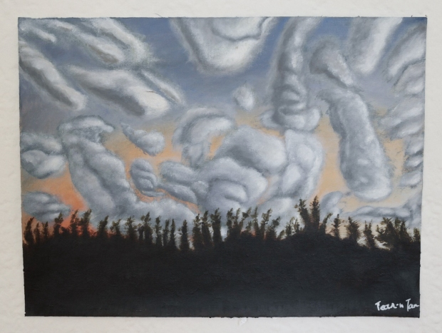 Tree silhouettes against clouds in Arles, France. 12×16 Acrylic on Canvas $600.